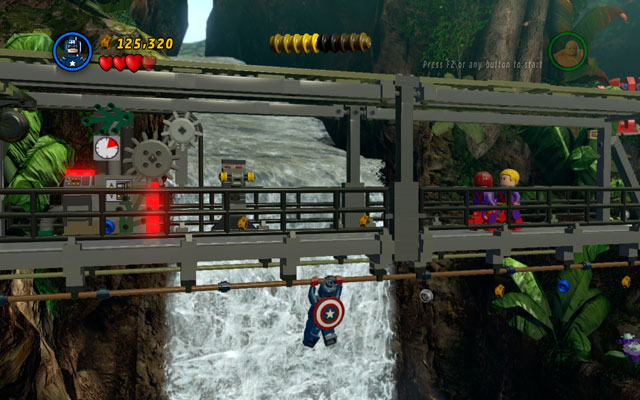 Go to the guarded bridge, then choose Captain America and turn to the right - Rapturous Rise - Walkthrough - LEGO Marvel Super Heroes - Game Guide and Walkthrough