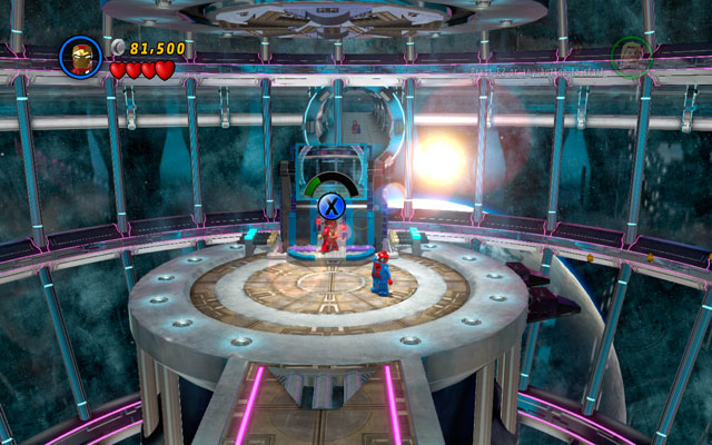 Defeat all enemies, then approach to the panel with two attachable points - Magnetic Personality - Walkthrough - LEGO Marvel Super Heroes - Game Guide and Walkthrough