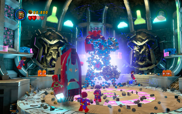 In first round try to dodge all attacks, running around the arena and waiting for enemy's mistake (notice that minions will flow in endlessly) - Magnetic Personality - Walkthrough - LEGO Marvel Super Heroes - Game Guide and Walkthrough