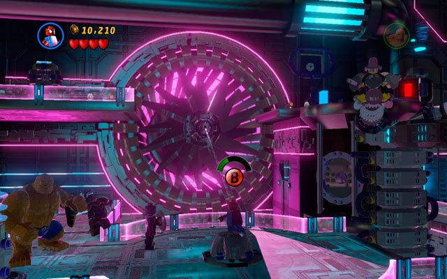 At the beginning of the mission defeat all nearby enemies (very numerous), then go to the interior part of the room and turn right - A Doom With a View - Walkthrough - LEGO Marvel Super Heroes - Game Guide and Walkthrough
