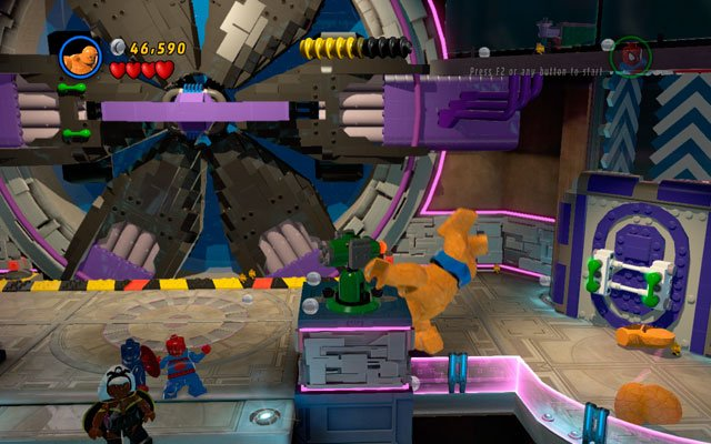 Use spider sense to uncover a yellow crack on the wall, then crash it with the Thing - A Doom With a View - Walkthrough - LEGO Marvel Super Heroes - Game Guide and Walkthrough