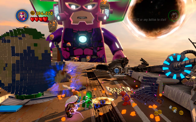 Use Cyclops laser ray to melt golden bricks lying on the left side, then build another part of the planet from the remains - The Good, the Bad and the Hungry - Walkthrough - LEGO Marvel Super Heroes - Game Guide and Walkthrough