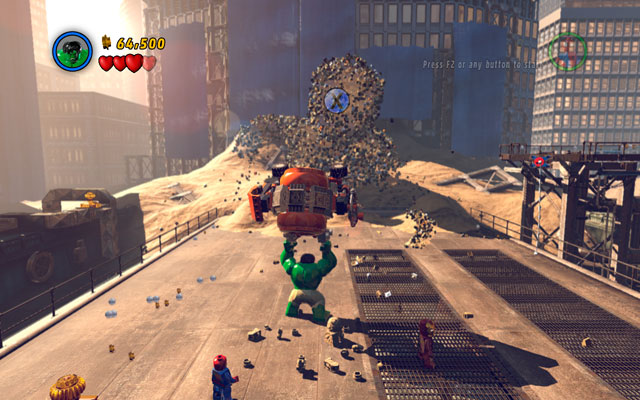 Turn away and go to the central part of the arena - Sandman - Boss fights - LEGO Marvel Super Heroes - Game Guide and Walkthrough