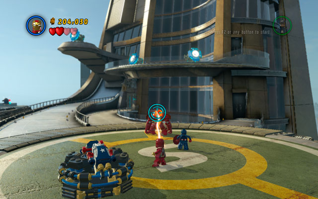When the device is charged, huge explosion will occur, overloading some systems of Mandarin's Terminator - Mandarin & Aldrich Killian - Boss fights - LEGO Marvel Super Heroes - Game Guide and Walkthrough