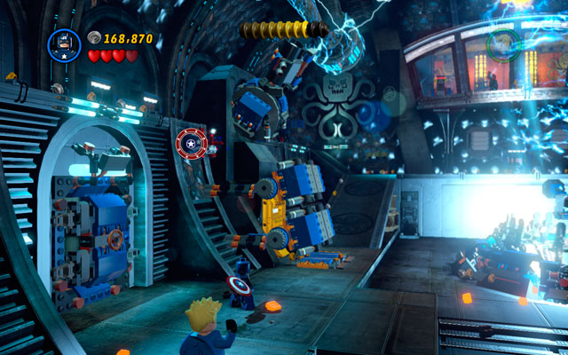 When the stage is partially clear (notice that enemies will appear endlessly), turn to the left and search for some bricks scattered under the cannon - Red Skull - Boss fights - LEGO Marvel Super Heroes - Game Guide and Walkthrough