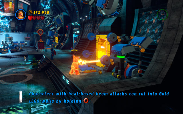 Go to the wall at the opposite side of the arena and look for a lever - Red Skull - Boss fights - LEGO Marvel Super Heroes - Game Guide and Walkthrough