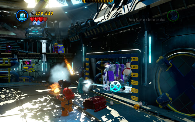 When the enemy is blinded, switch into Iceman and approach to the wall on the right so you can extinguish all fires - Juggernaut - Boss fights - LEGO Marvel Super Heroes - Game Guide and Walkthrough
