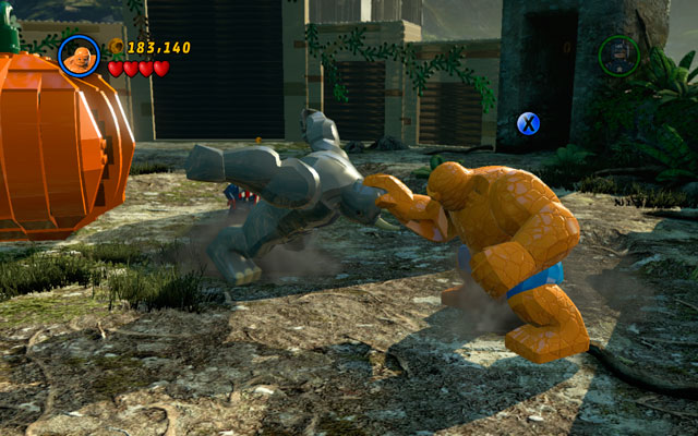 When villain is stunned, punch him as the Thing - Rhino and Magneto - Boss fights - LEGO Marvel Super Heroes - Game Guide and Walkthrough