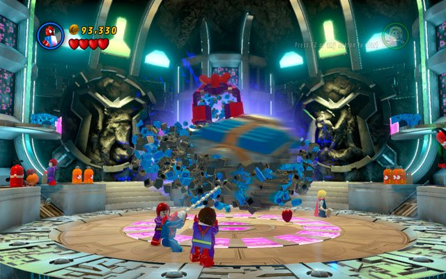The final round is very similar - wait for bricks, then build a battery from them and charge it with electricity - Magneto - Boss fights - LEGO Marvel Super Heroes - Game Guide and Walkthrough
