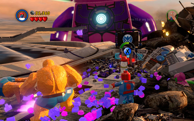 Choose the Thing again and approach to the jet crushed on the right side, then throw it away - Galactus - Boss fights - LEGO Marvel Super Heroes - Game Guide and Walkthrough