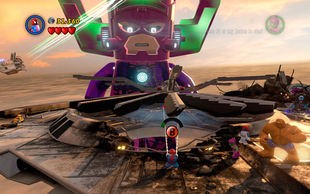 Choose Spider-Man and use his spider sense to see an attachable point located on the engine fan - Galactus - Boss fights - LEGO Marvel Super Heroes - Game Guide and Walkthrough