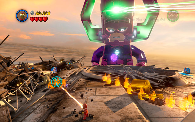 At the second wing of Helicarrier use Iron Man's fire beam to melt the golden brick lying on the left side - Galactus - Boss fights - LEGO Marvel Super Heroes - Game Guide and Walkthrough