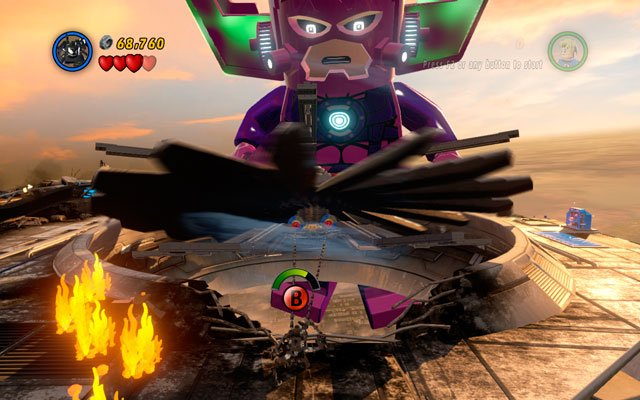 Turn right and melt golden boiler, then switch into Venom and jump over the flames, so you can use a spider sense near to the rotors - Galactus - Boss fights - LEGO Marvel Super Heroes - Game Guide and Walkthrough