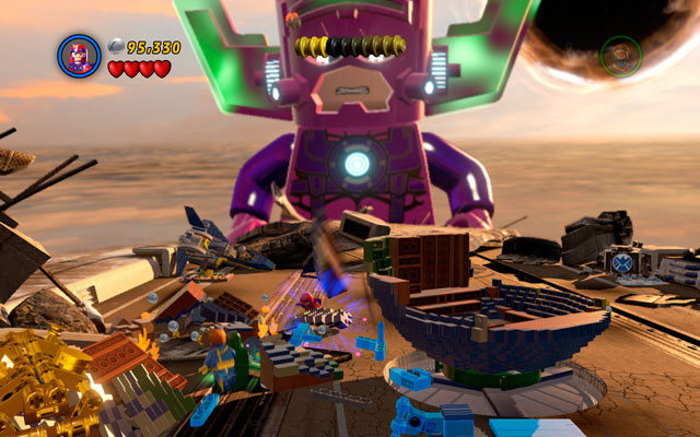 On the last wing choose Magneto to move metal elements to the central part of the location - Galactus - Boss fights - LEGO Marvel Super Heroes - Game Guide and Walkthrough
