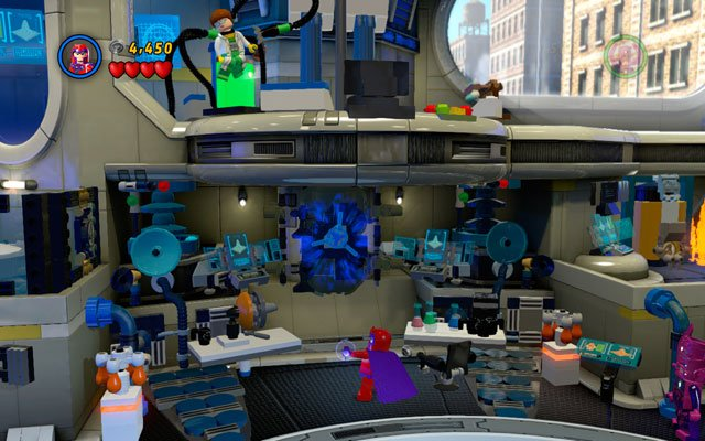 On the beginning of the stage choose Magneto and turn the valve located on the wall - Times Square Off - Minikit Sets - LEGO Marvel Super Heroes - Game Guide and Walkthrough