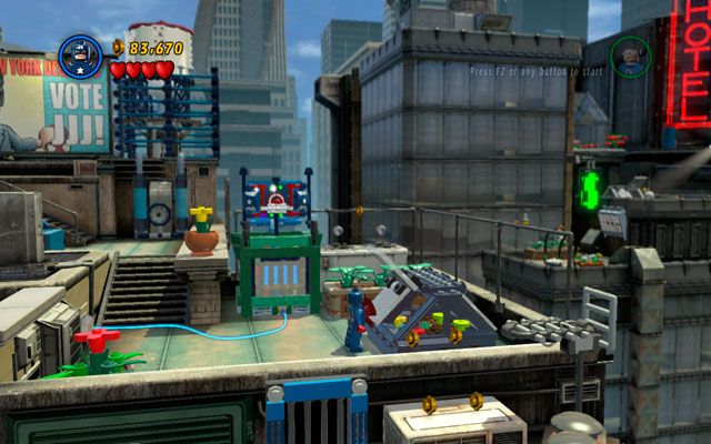 Second is located further, on the right side from the water silo, on the lower floor of the roof - Times Square Off - Minikit Sets - LEGO Marvel Super Heroes - Game Guide and Walkthrough