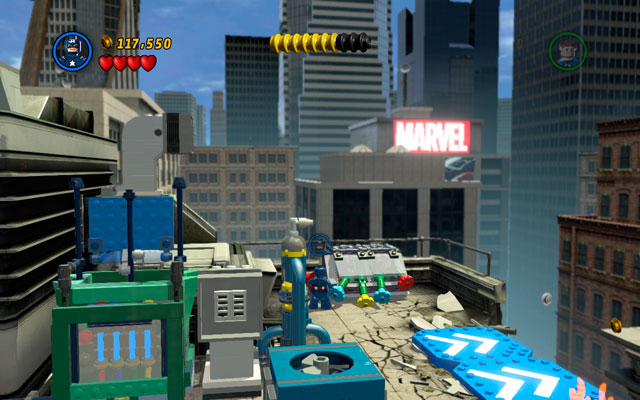 Fourth is located on the roof of the building, in which Captain America had to jump between two walls (colored in white and blue) - Times Square Off - Minikit Sets - LEGO Marvel Super Heroes - Game Guide and Walkthrough