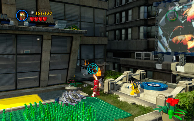 On the same place choose Human Torch to melt golden fire extinguisher standing nearby - Times Square Off - Minikit Sets - LEGO Marvel Super Heroes - Game Guide and Walkthrough