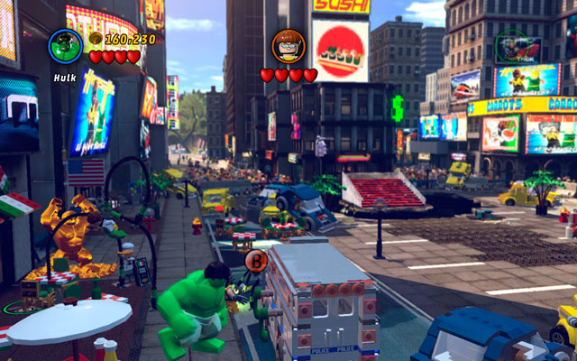 During the fight with Doctor Octopus choose a big character (like Hulk) and lift up the police van standing on the left - Times Square Off - Minikit Sets - LEGO Marvel Super Heroes - Game Guide and Walkthrough