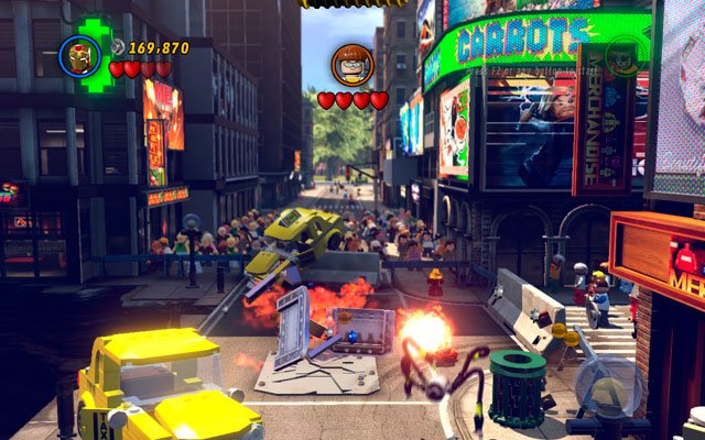 Go to the opposite corner of the arena and look for the silver car - Times Square Off - Minikit Sets - LEGO Marvel Super Heroes - Game Guide and Walkthrough