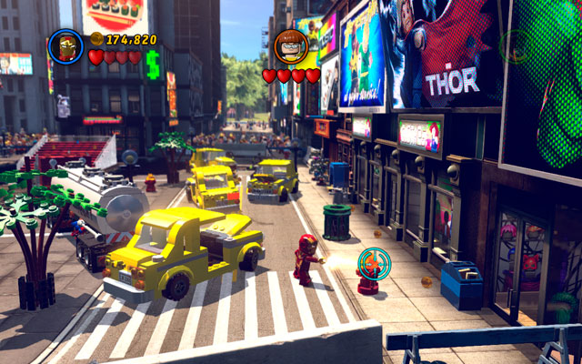 To receive the last minikit, you must melt all five red-and-gold hydrants, located on the opposite parts of the location (four can be found on the corners and fifth is located near to the centre) - Times Square Off - Minikit Sets - LEGO Marvel Super Heroes - Game Guide and Walkthrough