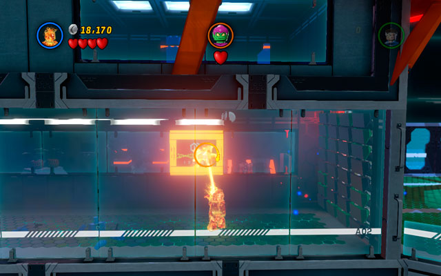 Second is hanged on the wall in the passage on the right - Exploratory Laboratory - Minikit Sets - LEGO Marvel Super Heroes - Game Guide and Walkthrough