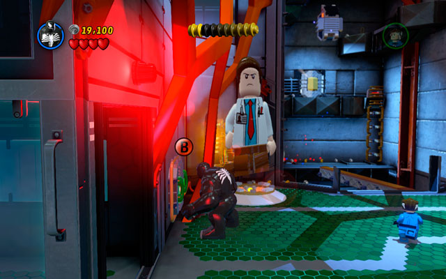 Standing near to the lift pit choose any big character (like Hulk) and yank two green handles located on the left - Exploratory Laboratory - Minikit Sets - LEGO Marvel Super Heroes - Game Guide and Walkthrough