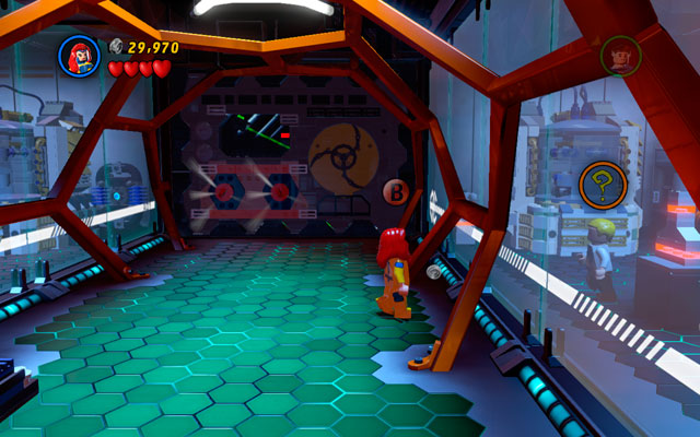 In the corridor located after the lift pit use Jean Grey's telepathic abilities to take control over the scientist hidden on the right - Exploratory Laboratory - Minikit Sets - LEGO Marvel Super Heroes - Game Guide and Walkthrough