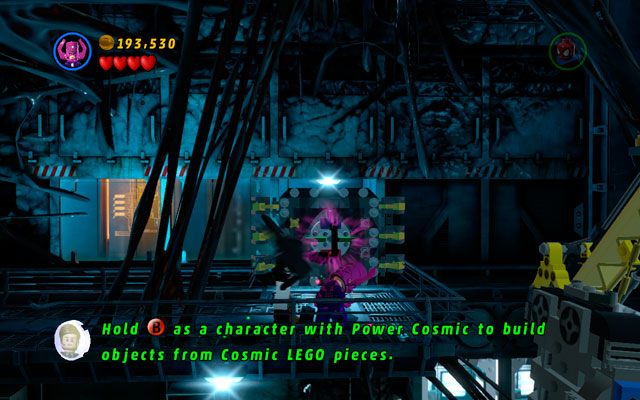 During the fight with Venom fly to the upper floor and destroy all obstacles found there - Exploratory Laboratory - Minikit Sets - LEGO Marvel Super Heroes - Game Guide and Walkthrough