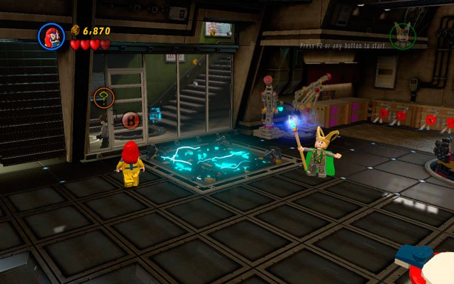 After the beginning of the mission choose any flying character and fly to the right part of the location - Rebooted, Resuited - Minikit Sets - LEGO Marvel Super Heroes - Game Guide and Walkthrough