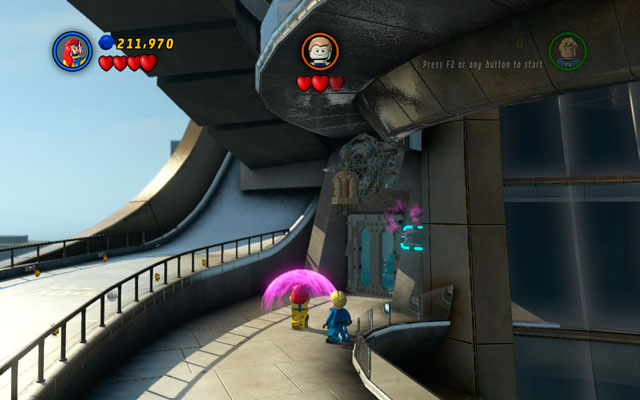 During the same fight turn left, approaching to the locked door - Rebooted, Resuited - Minikit Sets - LEGO Marvel Super Heroes - Game Guide and Walkthrough