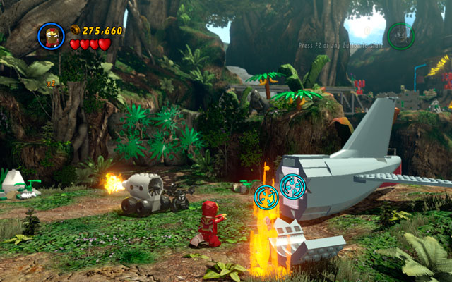 Go to the shattered aeroplane and use Iron Man's rockets to destroy silver plate on the tail - that's the only way to uncover this minikit - Rapturous Rise - Minikit Sets - LEGO Marvel Super Heroes - Game Guide and Walkthrough