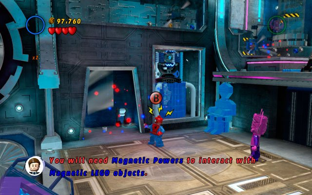 In the same place choose Spider-Man and use spider sense to uncover a passage to the upper floor - Magnetic Personality - Minikit Sets - LEGO Marvel Super Heroes - Game Guide and Walkthrough