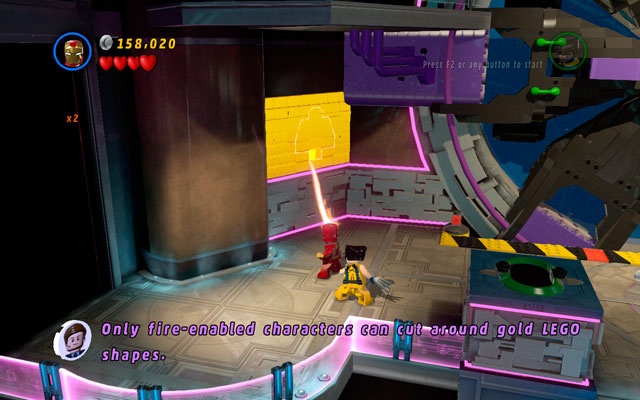 Melt a golden wall under mentioned room using a fire beam and then melt a golden monument - A Doom With a View - Minikit Sets - LEGO Marvel Super Heroes - Game Guide and Walkthrough