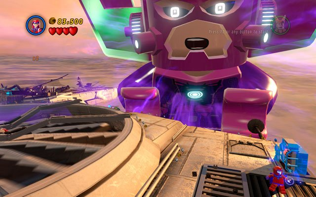 Third target is located on the same wing, on the right edge of it - The Good, the Bad and the Hungry - Minikit Sets - LEGO Marvel Super Heroes - Game Guide and Walkthrough