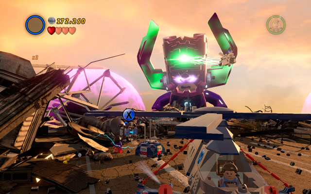 Go to the location where a golden wall was standing (you have already destroyed it - see minikit 6) and turn left - The Good, the Bad and the Hungry - Minikit Sets - LEGO Marvel Super Heroes - Game Guide and Walkthrough