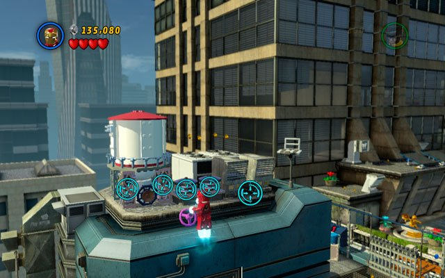 At the end of the stage, but before the final fight with Doctor Octopus, fly to the silo located on the roof of the skyscraper - The Main Campaign - Stan Lee in Peril - LEGO Marvel Super Heroes - Game Guide and Walkthrough