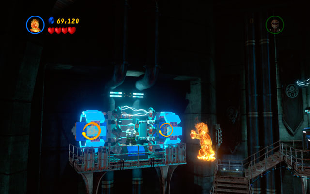 Enter to the factory part of the building (where you have met Human Torch for the first time) and fly up, heading to the upper-left corner of the room - The Main Campaign - Stan Lee in Peril - LEGO Marvel Super Heroes - Game Guide and Walkthrough
