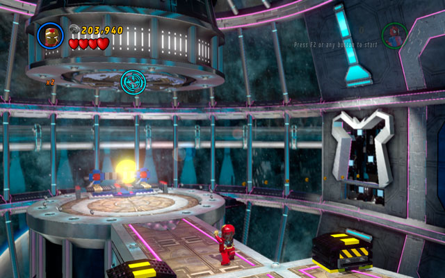 Go to the huge, round hall with the galaxy visible behind the window and look upward - The Main Campaign - Stan Lee in Peril - LEGO Marvel Super Heroes - Game Guide and Walkthrough