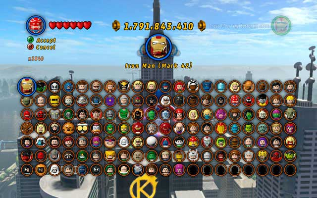 marvel lego unlock all characters