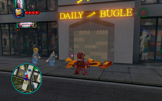 First bonus mission begins after entering to the Daily Bugle building - Tabloid Tidy Up - Deadpool Bonus Missions: Walkthrough - LEGO Marvel Super Heroes - Game Guide and Walkthrough