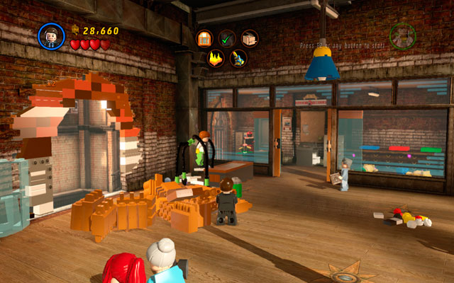 After that, you can build a window frame from the bricks that you have already received - Tabloid Tidy Up - Deadpool Bonus Missions: Walkthrough - LEGO Marvel Super Heroes - Game Guide and Walkthrough
