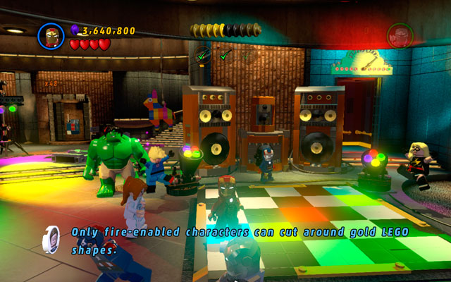 When all three stages of arrangements are completed, go to the dance-floor and beat your friends at the dance competition - House Party Protocol - Deadpool Bonus Missions: Walkthrough - LEGO Marvel Super Heroes - Game Guide and Walkthrough