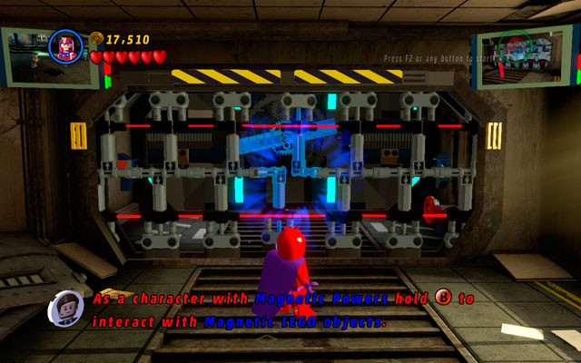 Turn right and interact with metal elements blocking your way as a character with magnetic powers - The Thrill of the Chess - Deadpool Bonus Missions: Walkthrough - LEGO Marvel Super Heroes - Game Guide and Walkthrough