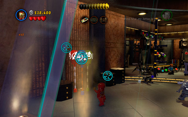 To collect the Iron Man (Heartbreaker) character token, you will have to destroy three bunches of balloons - House Party Protocol - Deadpool Bonus Missions: Collectables - LEGO Marvel Super Heroes - Game Guide and Walkthrough