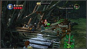 Use the helm three times until the monkey will get on the platform - A Touch of Destiny - walkthrough - Dead Man's Chest - LEGO Pirates of the Caribbean: The Video Game - Game Guide and Walkthrough
