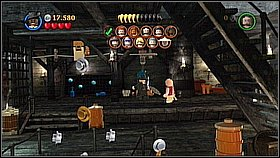 Get to the lower deck [1] and put the bricks against the wall - Davy Jones Locker - walkthrough - At World's End - LEGO Pirates of the Caribbean: The Video Game - Game Guide and Walkthrough