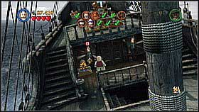 Go on the main deck and release the pirates tied to the mast (shoot at the chain with Marty's gun) - Davy Jones Locker - walkthrough - At World's End - LEGO Pirates of the Caribbean: The Video Game - Game Guide and Walkthrough