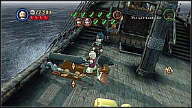 Go on the deck and hit the helm three times to release Will - Davy Jones Locker - walkthrough - At World's End - LEGO Pirates of the Caribbean: The Video Game - Game Guide and Walkthrough