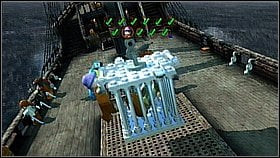 As Barbossa climb the mast using the chain and use the rope to get on the other side - Davy Jones Locker - walkthrough - At World's End - LEGO Pirates of the Caribbean: The Video Game - Game Guide and Walkthrough